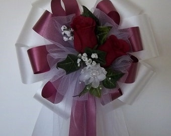 WHITE/BURGUNDY with Burgundy Roses Pew Bows - Wedding Decoration -