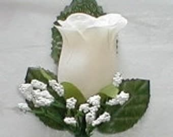 IVORY Silk Rose Boutonniere/Boutineers - Wedding -