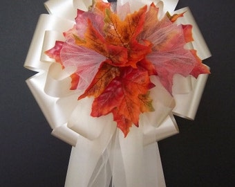 12 IVORY Ribbon w/Fall Autumn Leafs/Leaves Pew Bows - Wedding Decorations
