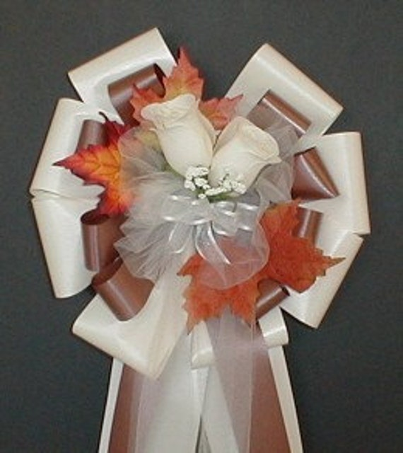 Church Pew Wedding Decoration Ideas: 6 IVORY/CHOCOLATE Fall Pew Bows Wedding Decorations