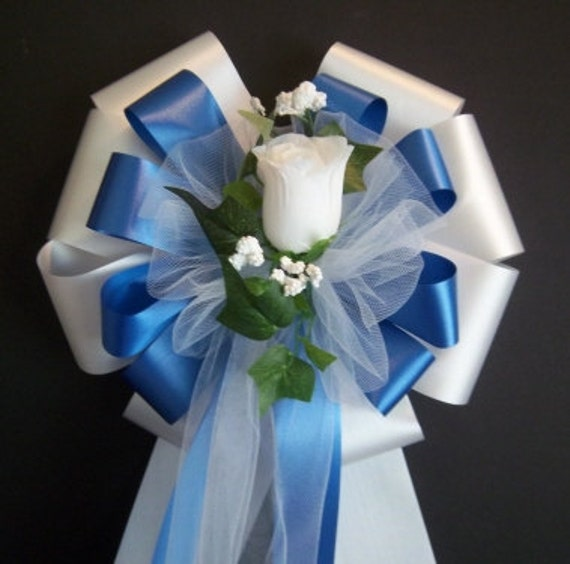 Royal Blue And Silver Wedding Ideas: 30 Royal Blue/Silver/White Ribbon With White Rose Pew Bows