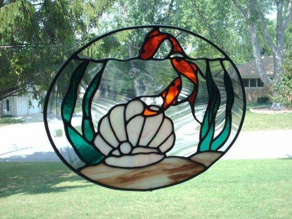 Stained Glass Goldfish Panel