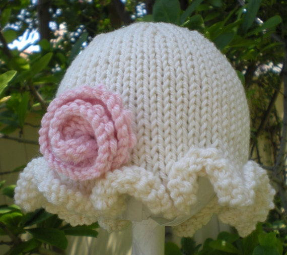 Precious Little Hand Knit Baby Hat Ruffled Brim