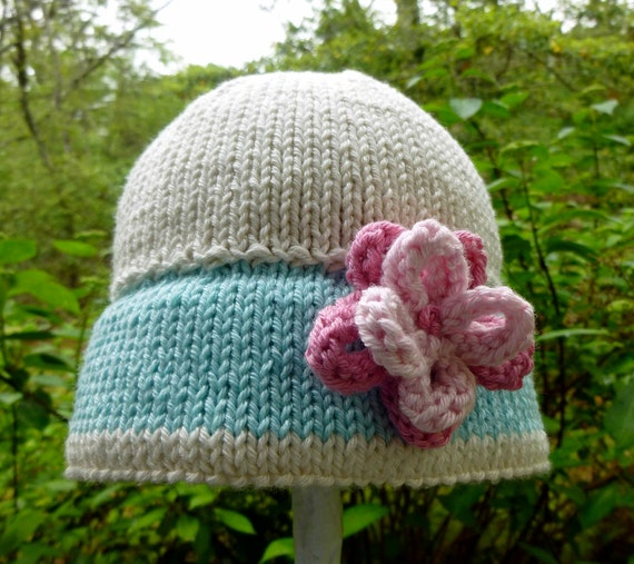 Precious Hand Knit Baby Girl Sun Hat  / Sunhat - Infant Hat - Photo Op - New Baby Gift - Baby Shower Gift - Sweet Baby Girl - Hand Made Gift
