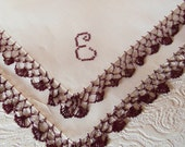 "Vintage White Linen Hanky/Hankerchief with Brown Tatted  Edging and ""E"" monogram in Brown"