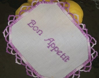 Bon Appetit, Enjoy your meal,  Hand Embroidered White Vintage Doily. Perfect Centerpiece Doily or to Frame