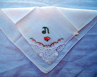 "Vintage  White Cotton Hanky/Handkerchief  Embroidered ""N""  Monogram Green . Lace Focal Corner"