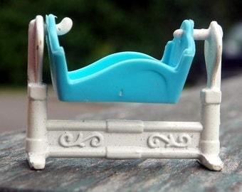Vintage Miniature  Dollhouse Cradle . Blue  and White. Mattel. #10
