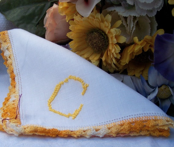 """Beautiful Variegated Yellow and White Hand Crocheted Edging on a Vintage White Cotton Hanky/ Handkerchief with Monogram """"C"""""""