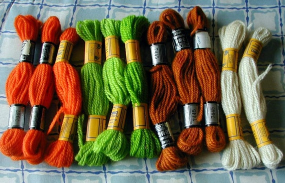 Laine Floralia DMC Wool of 11 5.4 yds. skeins. Made in France