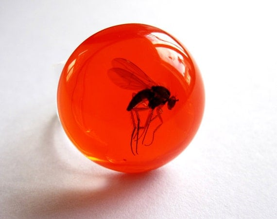 Candy red Mosquito - Resin ring - Size M
