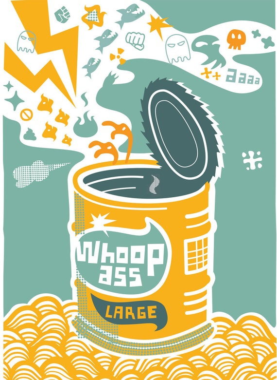 Whoop Ass - Large - Screen Print by Popcorny