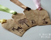 Forest Friends gift tags - set of 4 - deer bunny owl and tree