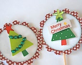Merry Christmas Tree - Cupcake Toppers