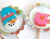 Snowy Snowman and Cup o' Joe - Cupcake Toppers