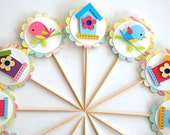 Birds and Houses Cupcake Toppers -reserved for Kris