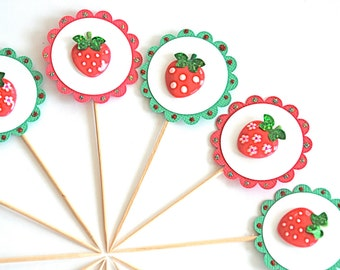 Summertime Strawberries Cupcake Toppers