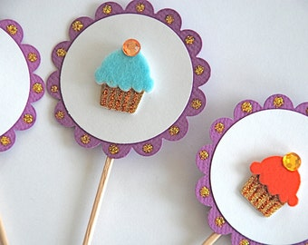 Glittery Cupcakes Cupcake Toppers