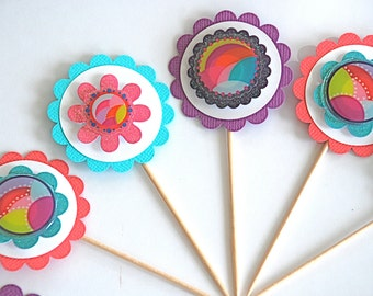 Funky Flower Cupcake Toppers