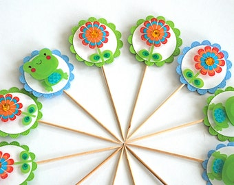 Frogger and Flower Cupcake Toppers