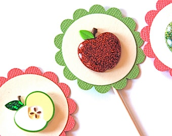 Shiny and Glittery Apples - Cupcake Toppers
