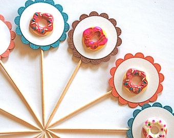 Iced and Sprinkled Donuts - Cupcake Toppers