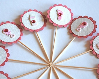 Sweet Baby Girl Cupcake Toppers