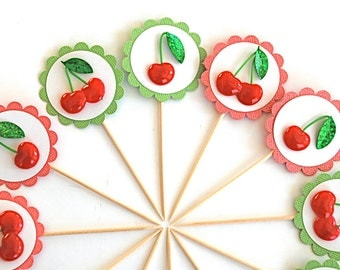 Cherries on Top - Cupcake Toppers