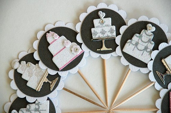 Wedding Cake Bridal Shower Cupcake Toppers