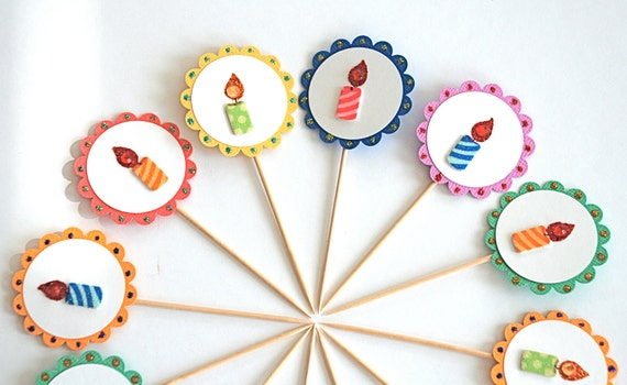 Birthday Candles Cupcake Toppers