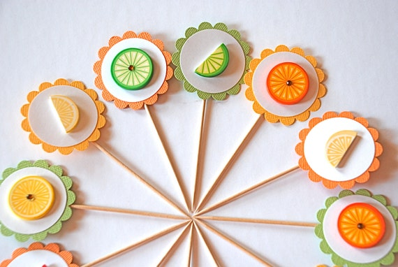 Smell the Citrus - Cupcake Toppers