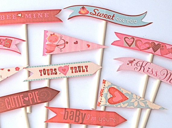 Valentine Flags Cupcake Toppers-reserved for Cheryl