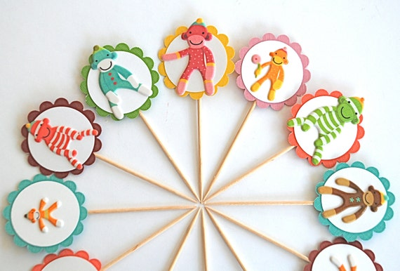 Sock Monkey Cupcake Toppers
