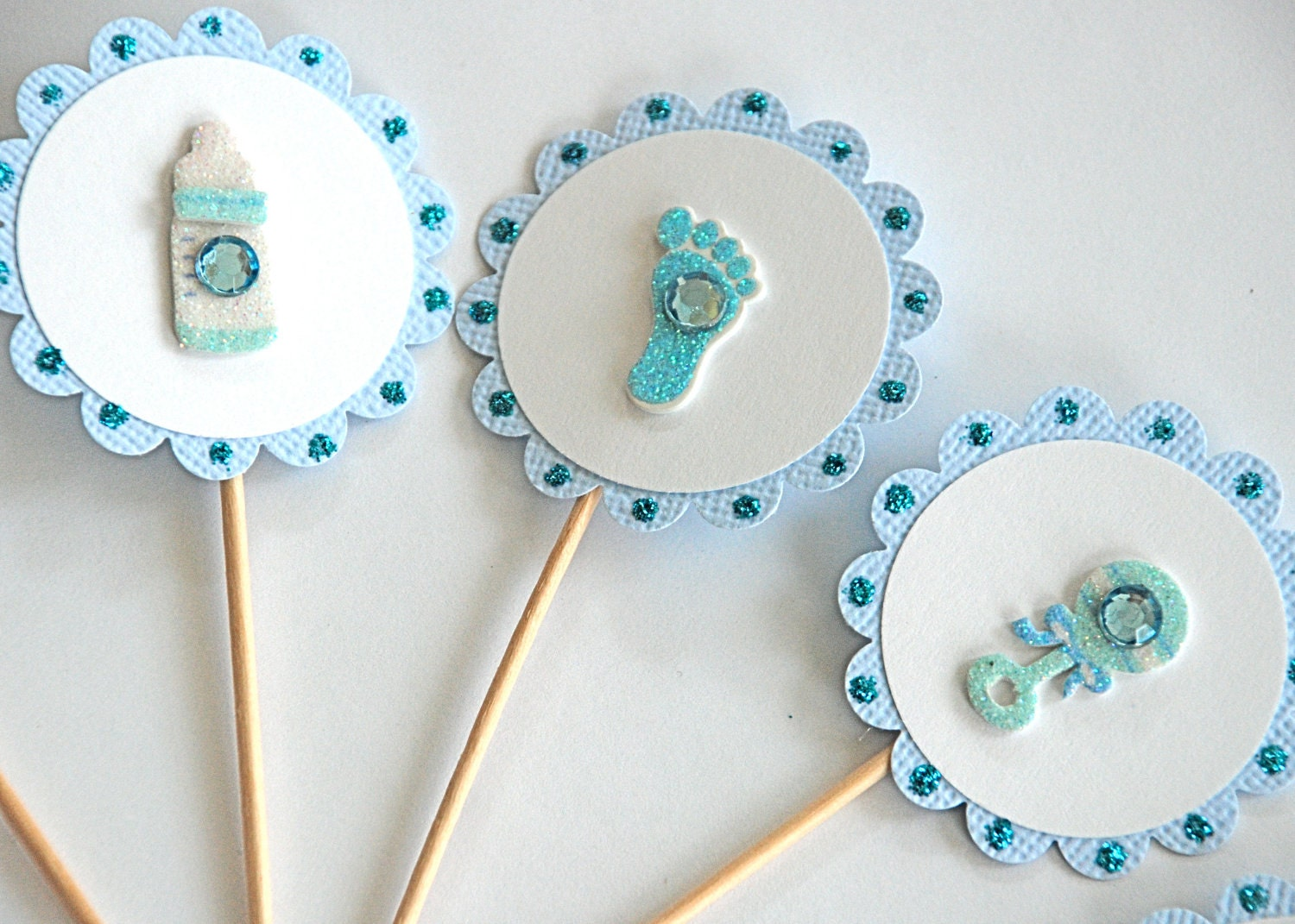 Cake Toppers Baby Shower Etsy : Sweet Baby Boy Cupcake Toppers