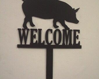 Pig Welcome Metal Art Yard Garden Sign - Free USA Shipping