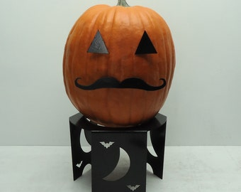 Pumpkin JackOLantern Metal Art Mustache - Free USA Shipping