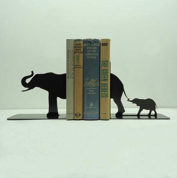 Elephant Family Metal Art Bookends - Free USA Shipping