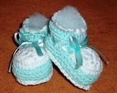 Handmade Green and White Crochet Baby Booties