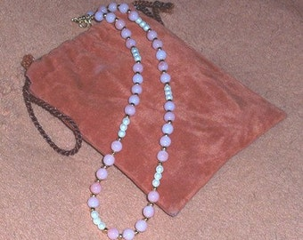 Rose Quartz with Mini Pearl and Gold Beads Necklace