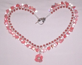 String of Mother of Pearl Pink Hearts Necklace