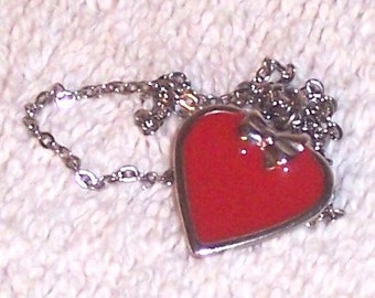 Miniature Red Heart Charm Necklace