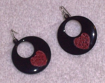 Black with Red Heart Earrings