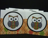 6 Colorful Owl mini cards