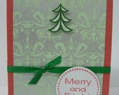 Merry and Bright Christmas tree handmade card