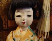 Adorable Vintage Japanese Geisha Maiko Gofun and Composition Doll