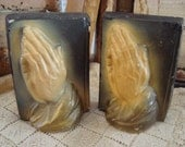 SALE Vintage Pair Religious Chalkware Praying Bookends