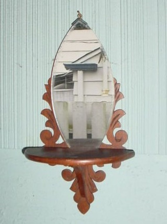 Small Vintage Scroll Wood Wall Sconce with Mirror
