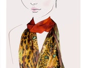 Hand painted silk scarf. (golden brown stalking leopards):  On the Prowl