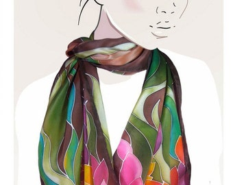 Earth Lilies - made to order- habd painted silk scarf.  Garden floral, brown, pink, green oblong scarf