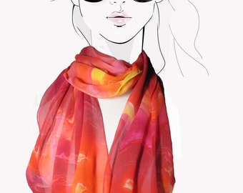 Silk scarf. Hand Painted. Orange Sunset colors:  AfterGlow